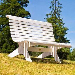 Biała ławka parkowa