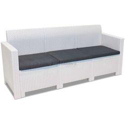Duża sofa z technorattanu 3-osobowa Nebraska biała Bica (8003723090725)