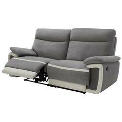 Sofa 3-osobowa z weluru z elektryczną funkcją relaksu METTI - Szara z pasami ecru, kolor beżowy