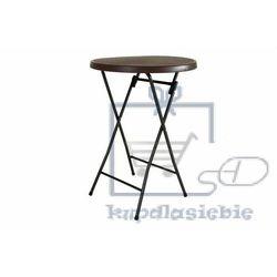 Ogrodowy barowy stół okrągły z ratanowym wzorem 110 cm - brązowy marki Garthen