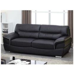 Sofa 3-osobowa ze skóry thibault - czarny marki Vente-unique.pl