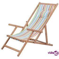 vidaXL Składany leżak plażowy, tkanina i drewniana rama, wielokolorowy (8718475613749)