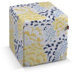 pufa kostka twarda, żółto-szaro-niebieskie motywy roślinne, 40x40x40 cm, brooklyn marki Dekoria