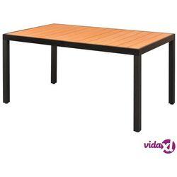 vidaXL Stół ogrodowy, WPC, aluminium, 150 x 90 74 cm, brąz