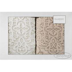 Komplet ręczników 2 szt. wzór ariana krem+róż marki Eurofirany