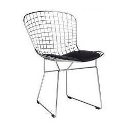 Krzesło metalowe NET SOFT srebrne - stal chromowana, czarna poduszka
