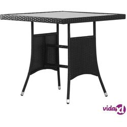 Vidaxl stół ogrodowy, czarny, 80x80x74 cm, polirattan