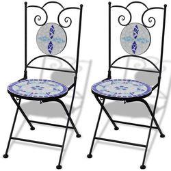 Vidaxl zestaw 2 krzeseł mozaikowych bistro, niebiesko-białe (8718475910916)