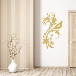 Wally - piękno dekoracji Szablon na ścianę ptak kwiaty 2124