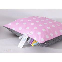 Mamo-tato poduszka minky dwustronna 40x40 grochy różowe / szary