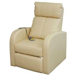 vidaXL Elektryczny fotel do masażu z pilotem, kremowo-biały. (8718475828440)