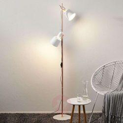 2-punktowa lampa stojąca Kaldar biała/miedzia (4000870796603)