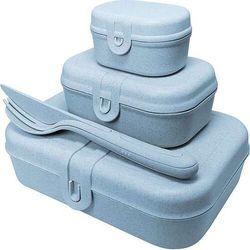 Lunchboxy pascal ready organic niebieskie ze sztućcami 4 el., 3168671