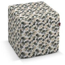Dekoria Pufa kostka twarda, szaro-beżowe kwiatuszki na jasnym tle, 40x40x40 cm, Wyprzedaż do -30%