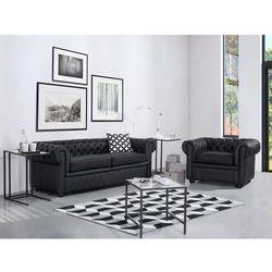 Sofa kanapa skórzana czarna klasyka dom biuro CHESTERFIELD ze sklepu Beliani