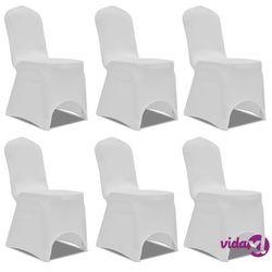 Vidaxl białe elastyczne pokrowce na krzesła, 6 szt. (8718475884200)