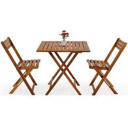 Meble ogrodowe stół 2 krzesła drewniane składane, marki Wideshop