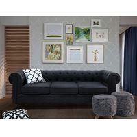 Sofa grafitowa - wypoczynek - tapicerowana - CHESTERFIELD (7105277241095)