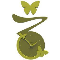 Zegar ścienny Butterfly CalleaDesign oliwkowy-zielony