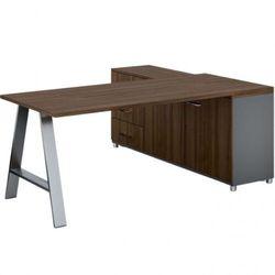 Biurowy stół roboczy ALFA A z szafką po lewej, blat 1800 x 800 mm, orzech