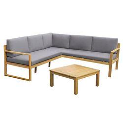 Salon ogrodowy CAPELLI z drewna eukaliptusowego: sofa narożna i ława – siedzisko w kolorze szarym