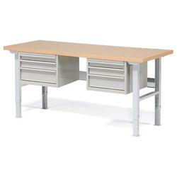 Stół warsztatowy robust, z regulacją wysokości, 6 szuflad, 800x2000 mm marki Aj produkty