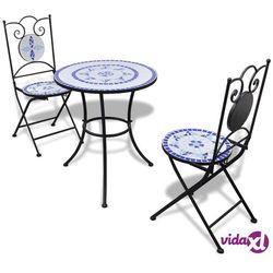 Vidaxl stolik i 2 krzesła z mozaiką niebiesko-białą (8718475925248)