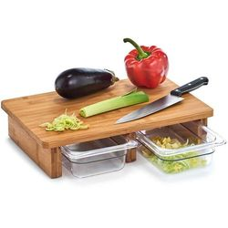 Zeller Deska bambusowa do krojenia z tackami, deska do krojenia na blat, deski kuchenne, deski do krojenia drewniane, akcesoria kuchenne (4003368251783)