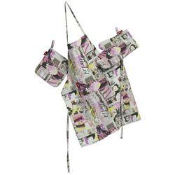 Dekoria Komplet kuchenny fartuch,rękawica i łapacz, różowo-fioletowe fotografie, kpl, Freestyle