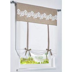 Firanka wiązana z bawełny organicznej w kwiaty biało-piaskowy marki Bonprix
