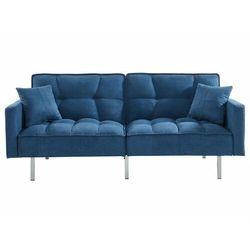 3-osobowa sofa rozkładana klik-klak z tkaniny MINEY - Kolor niebieski