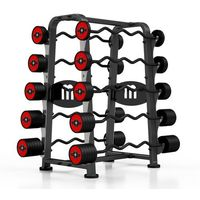 Zestaw sztang gumowanych łamanych 10-55 kg ze stojakiem  - czerwony marki Marbo sport