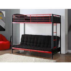 Zestaw MODULO IV - Łóżko antresola czarno-czerwone 90 × 190 cm z czarnym futonem 135 × 190 cm
