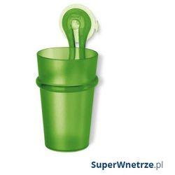 Kubek łazienkowy na szczoteczki z przyssawką loop zielony marki Koziol