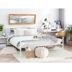 Łóżko białe 160 x 200 cm metalowe ze stelażem RODEZ, kolor biały