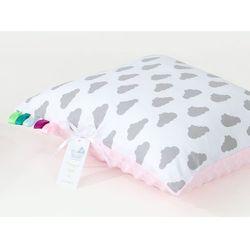 poduszka minky dwustronna 30x40 chmurki szare na bieli / jasny róż marki Mamo-tato