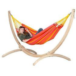 La siesta Zestaw hamakowy: hamak sonrisa ze stojakiem canoa, czerwono-żółty snh14cns121