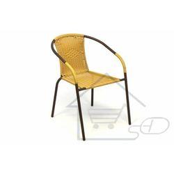 Krzesło ogrodowe na taras z polirattanu beżowe marki 1