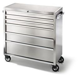 Wózek szufladowy ze stali szlachetnej, na rolkach,6 szuflad z pojedynczą blokadą marki Seco
