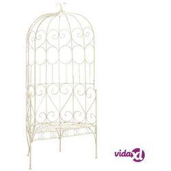 vidaXL Ławka ogrodowa, 95 cm, żelazo, antyczna biel (8718475718765)