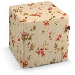 pufa kostka twarda, kwiatki na kremowym tle, 40x40x40 cm, londres marki Dekoria