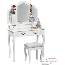 Toaletka kosmetyczna 145 z lustrem biała + taboret marki Meblemwm