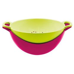 Zak! designs Durszlak z miską zak! różowo-zielony