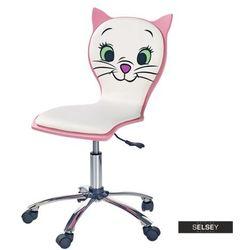 SELSEY Fotel biurowy Marie biało - różowy