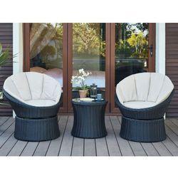 Vente-unique Salon ogrodowy sibu z technorattanu w kolorze czekoladowym: 2 fotele obrotowe i ława
