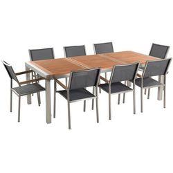 Zestaw ogrodowy mahoniowy blat 220 cm 8-osobowy szare krzesła grosseto marki Beliani