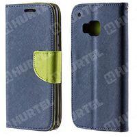 Kabura pokrowiec Fancy Series HTC One M9 granatowy zielony jasny - Granatowy ||Zielony jasny (Futerał telefon