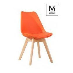 Modesto krzesło plastikowe z poduszką nordic pomarańczowe - podstawa dębowa marki Modesto design