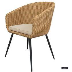 Selsey krzesło ogrodowe kencur jasny technorattan z beżowym siedziskiem (5903025553221)