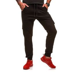 Czarne spodnie joggery bojówki męskie Denley 0404GBR - CZARNY